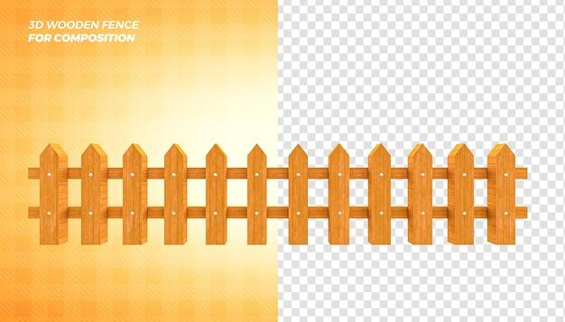 Drewniany płot renderowania 3d