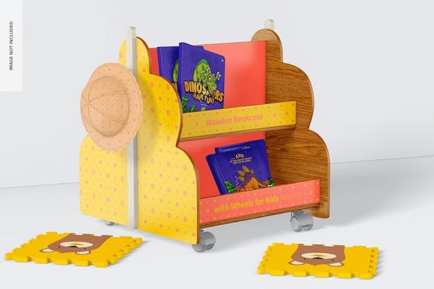 Drewniany regał z kółkami do makiety dla dzieci, widok z lewej
