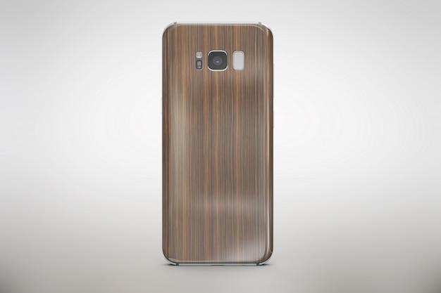 Drewniany smartphone wyśmiewa się