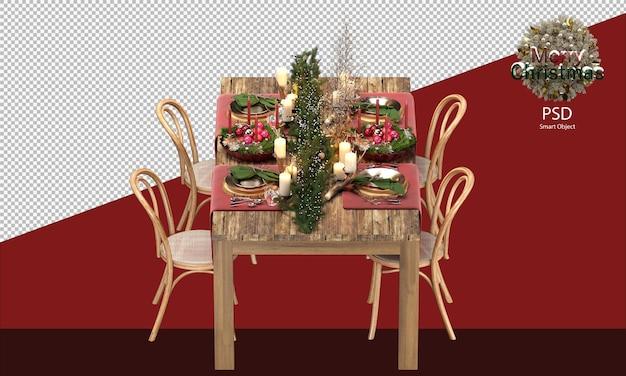 Drewniany stół z ozdób choinkowych ścieżka przycinająca ozdoby świąteczne