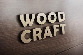 Drewno logo makieta rzemiosło