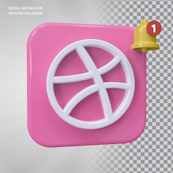 Dribbble icon 3d concept z powiadomieniem dzwonkiem