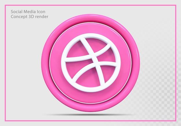Dribbble icon 3d render nowoczesny