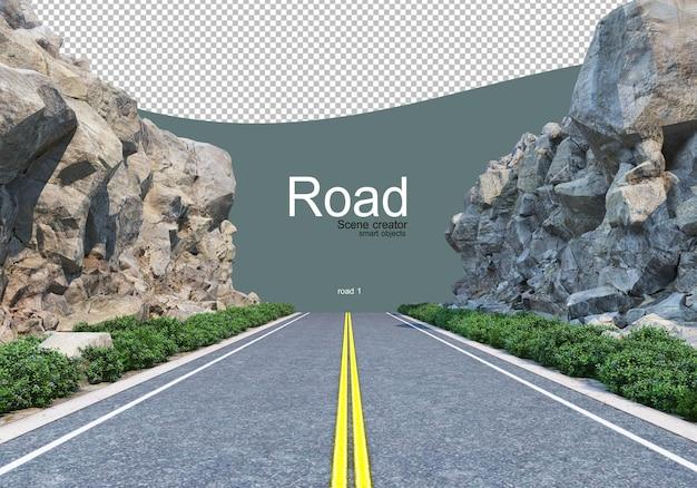 Droga, która przecina dużą linię głazów