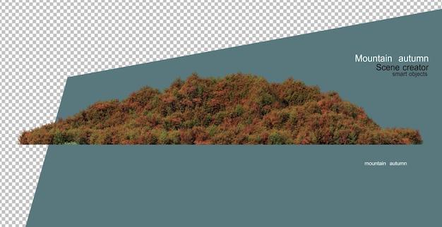 Drzewa i rośliny na górze jesienią