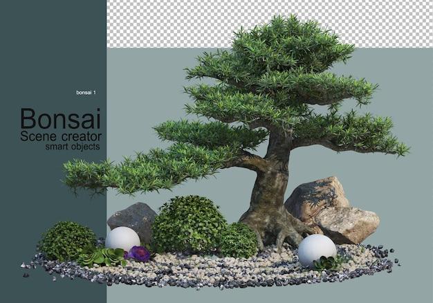Drzewka i krzewy bonsai w żwirowym ogrodzie