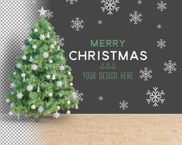 Duża choinka i białe dodatki świąteczna makieta