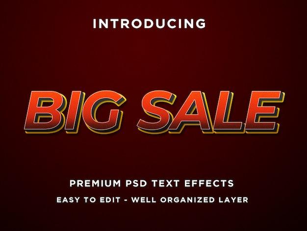 Duża sprzedaż, efekt tekstowy 3d premium psd