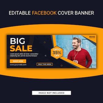 Duża sprzedaż facebook social media szablon transparent