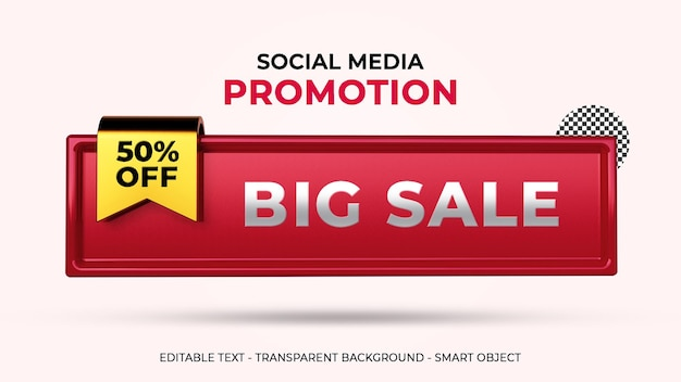 Duża sprzedaż promocja w mediach społecznościowych rabat 50 procent renderowania 3d