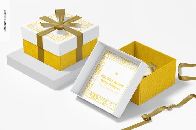 Duże pudełka na prezenty z makieta wstążki, widok z boku