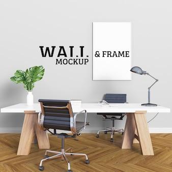 Duży stół warsztatowy i ramka na zdjęcia