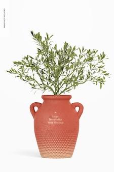 Duży wazon z terakoty z makieta z uchwytami