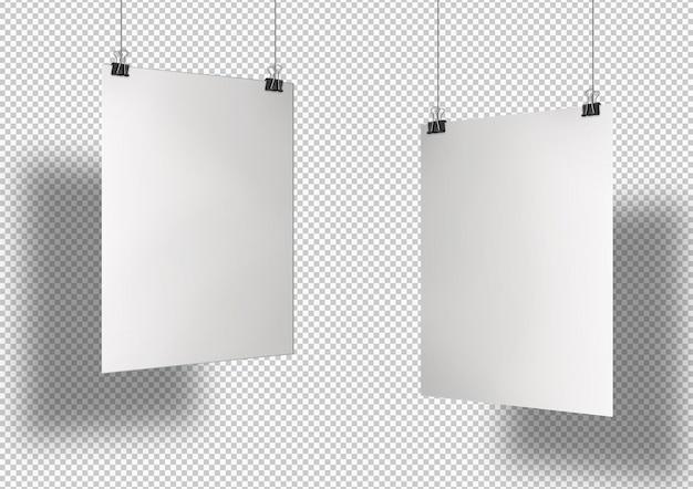 Dwa białe plakaty z klipsami na białym tle