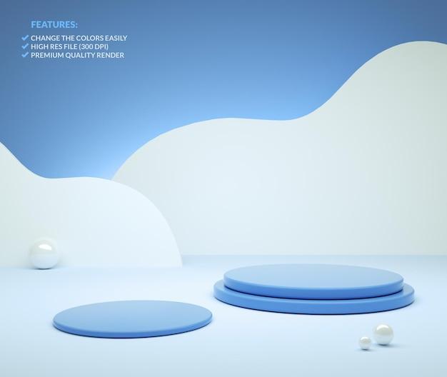 Dwa niebieskie cylindryczne podium w renderowaniu 3d