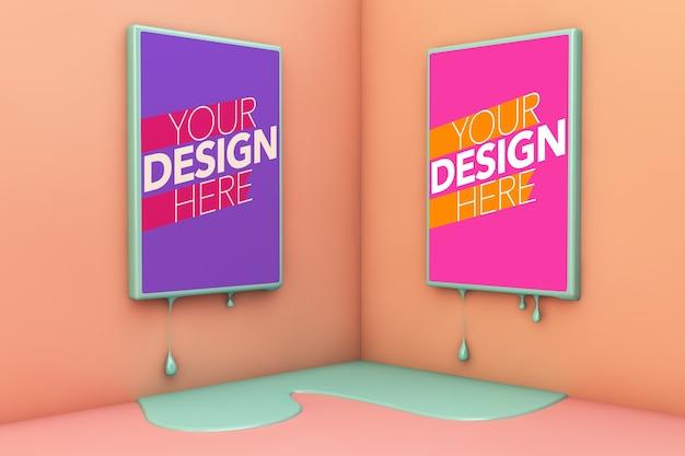 Dwa topiące się plakaty na kolorowych makietach narożnych