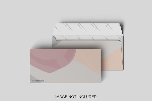 Dwa z projektu makiety koperty na białym tle