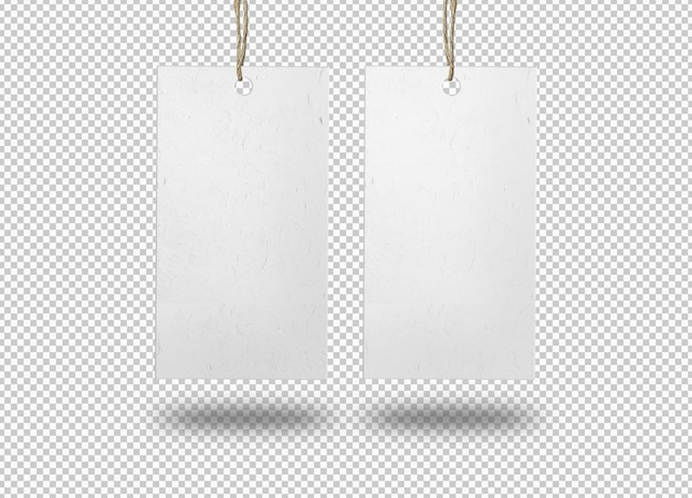 Dwie izolowane etykiety z białego papieru lub metka z ceną