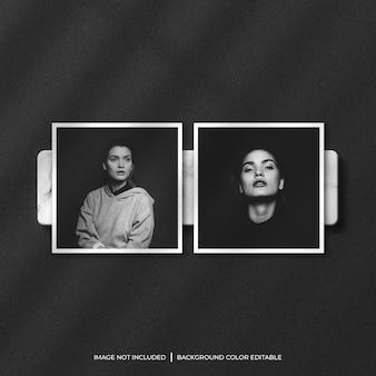 Dwie kwadratowe papierowe ramki na zdjęcia z cieniem i marmurowym tłem