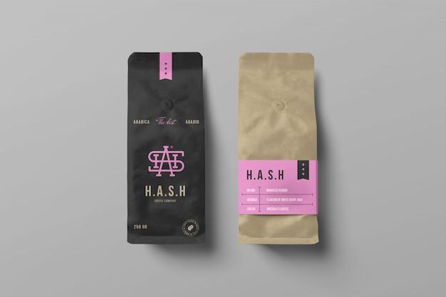 Dwie makiety torebek z kawą