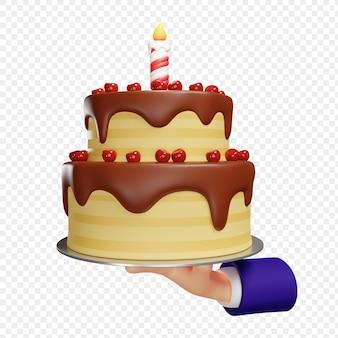 Dwupoziomowy tort urodzinowy w czekoladowej glazurze w ręku na izolowanej ilustracji 3d