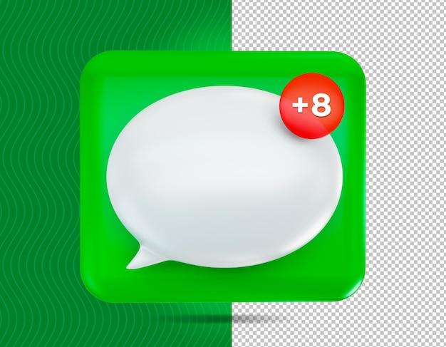 Dymek czatu ikona renderowania 3d