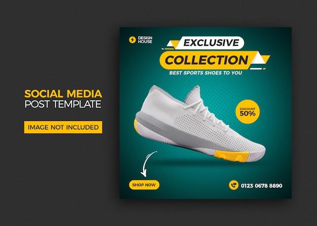 Dynamiczne buty sportowe baner mediów społecznościowych i szablon postu na instagramie