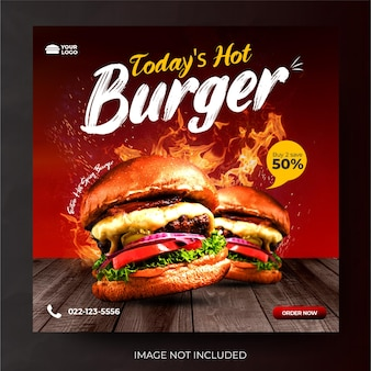 Dynamiczne menu promocji menu mediów społecznościowych post feed burger banner