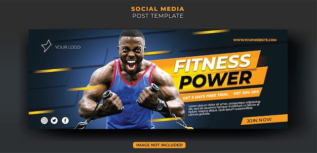 Dynamiczny niebieski trening fitness siłownia instagram baner społecznościowy i szablon ulotki