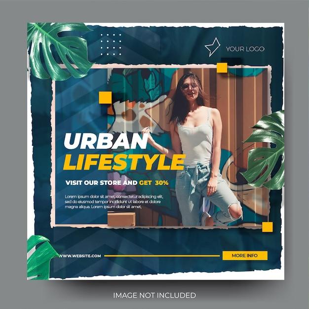 Dynamiczny, rozdarty papier, sprzedaż mody na instagramie, kanał postów w mediach społecznościowych