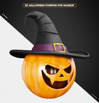 Dynia halloween 3d na białym tle na czarnym tle