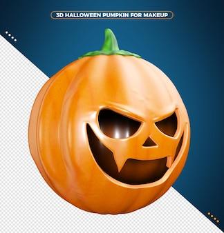 Dynia halloween 3d na białym tle na niebieskim tle