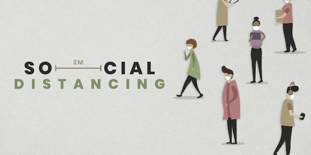 Dystans społeczny w makieta szablonu społecznościowego w przestrzeni publicznej