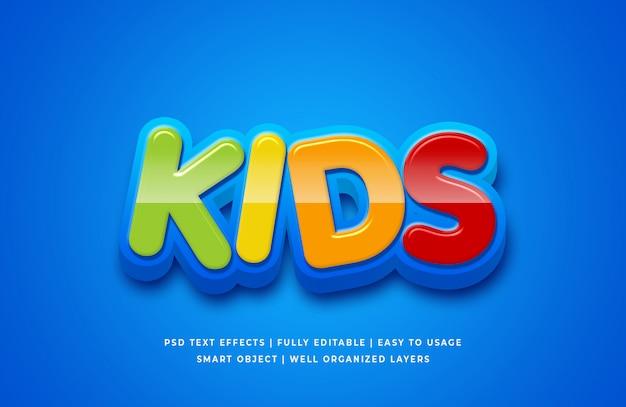 Dzieci cartoon 3d efekt stylu tekstu