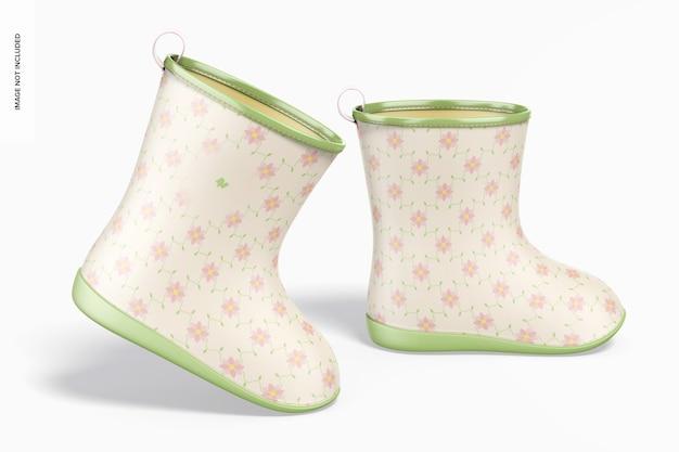 Dziecięce buty przeciwdeszczowe makieta, prawy widok