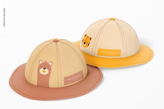 Dziecięce kapelusze przeciwsłoneczne makieta, perspektywa