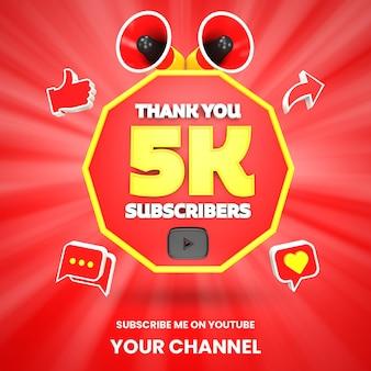 Dziękuję 5k subskrybentów youtube świętowanie renderowania 3d na białym tle