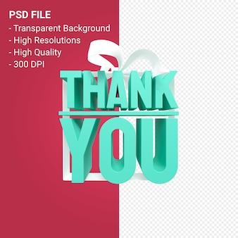 Dziękuję z kokardą i wstążką na białym tle projekt 3d