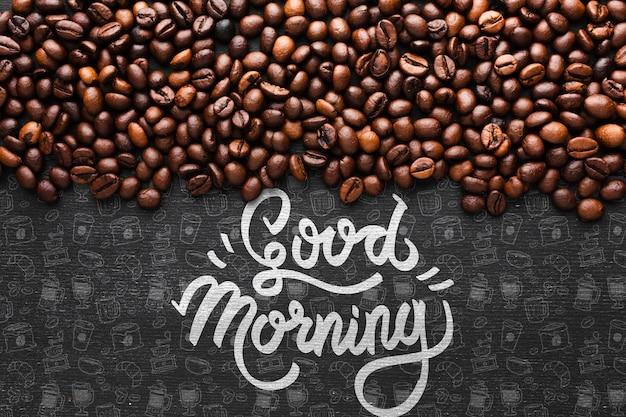 Dzień dobry tło z ziaren kawy