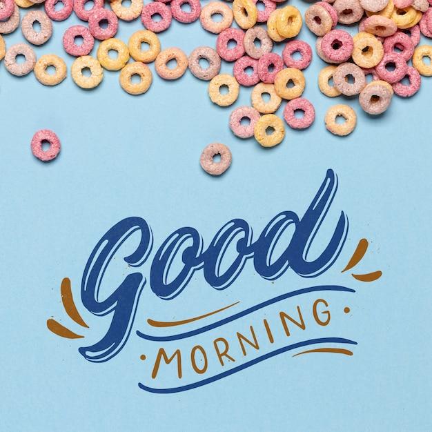Dzień dobry wiadomość obok płatków
