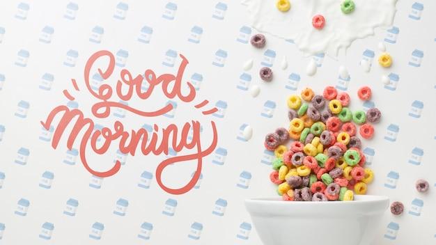 Dzień dobry wiadomość wraz z miską ze zbożami