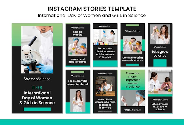 Dzień kobiet i dziewcząt w naukowych historiach na instagramie