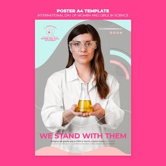 Dzień kobiet i dziewcząt w szablonie plakatu nauki