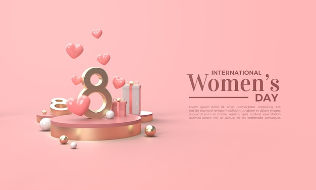 Dzień kobiet renderowania 3d ze złotymi numerami i kilkoma pudełkami na prezenty