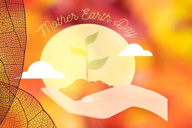 Dzień matki ziemi z półprzezroczystymi liśćmi