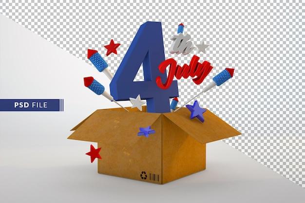 Dzień niepodległości 4 lipca izolowane renderowanie 3d tła