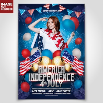 Dzień niezależności ameryka usa szablon ulotki