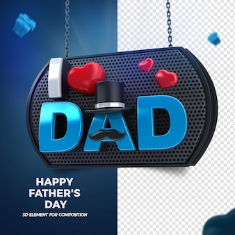 Dzień ojca miłość tata 3d render na białym tle