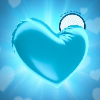 Dzień ojca niebieskie balonowe serce do kompozycji renderowania 3d