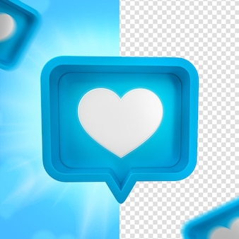Dzień ojca niebieskie serce facebook emoji do kompozycji renderowania 3d